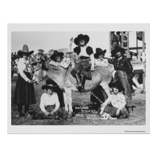 Seven rodeo cowgirls jokingly posing with a donkey poster