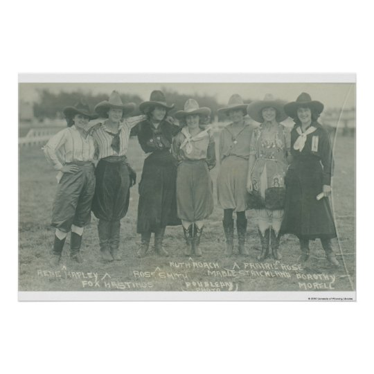 Seven rodeo cowgirls posing for a photograph. poster