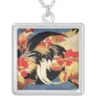 Seven Roosters, Hokusai Silver Plated Necklace