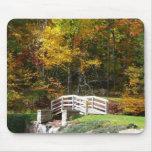 Seven Springs Fall Bridge I Autumn Landscape Photo Mouse Pad