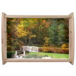 Seven Springs Fall Bridge I Autumn Landscape Photo Serving Tray