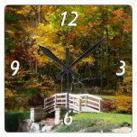 Seven Springs Fall Bridge I Autumn Landscape Photo Square Wall Clock