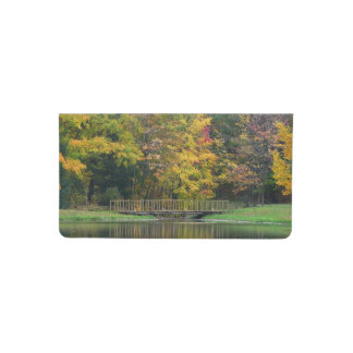 Seven Springs Fall Bridge II Autumn Landscape Checkbook Cover