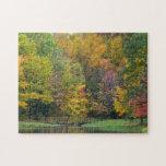 Seven Springs Fall Bridge II Autumn Landscape Jigsaw Puzzle