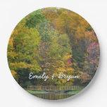 Seven Springs Fall Bridge II Autumn Landscape Paper Plate