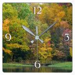 Seven Springs Fall Bridge II Autumn Landscape Square Wall Clock