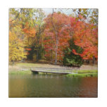 Seven Springs Fall Bridge III Autumn Landscape Ceramic Tile