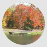 Seven Springs Fall Bridge III Autumn Landscape Classic Round Sticker