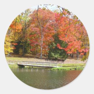 Seven Springs Fall Bridge III Autumn Landscape Classic Round Sticker