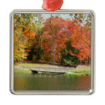 Seven Springs Fall Bridge III Autumn Landscape Metal Ornament
