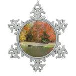 Seven Springs Fall Bridge III Autumn Landscape Snowflake Pewter Christmas Ornament