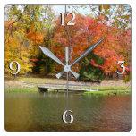 Seven Springs Fall Bridge III Autumn Landscape Square Wall Clock
