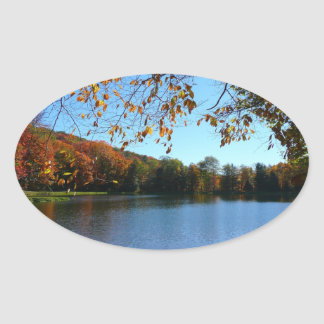 Seven Springs Fall Trees and Pond Oval Sticker