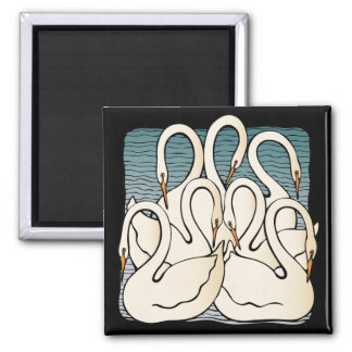 Seven Swans a Swimming 2 Inch Square Magnet