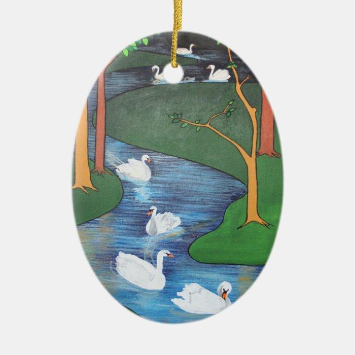 Seven Swans A-Swimming Ceramic Ornament