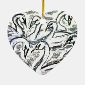 Seven Swans A Swimming Double-Sided Heart Ceramic Christmas Ornament