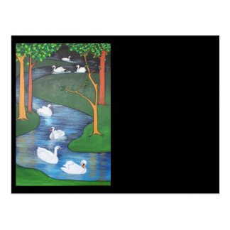 Seven Swans A-Swimming Postcard