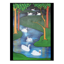 Seven Swans A-Swimming Postcard