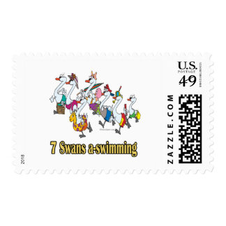 seven swans a-swimming seventh 7th day christmas postage stamp
