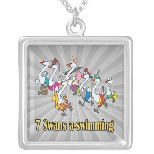 seven swans a-swimming seventh 7th day christmas square pendant necklace