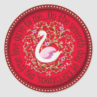 Seven swans aswimming classic round sticker