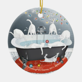 Seven Swats, No Swimming! (tree ornament) Double-Sided Ceramic Round Christmas Ornament