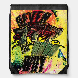 Seven the Hard Way! Drawstring Backpack