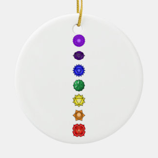 Seven vertical chakras ceramic ornament