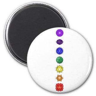 Seven vertical chakras fridge magnets