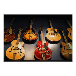 Seven Vintage Guitars in a Row Poster