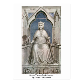 Seven Virtues:Lady Justice By Giotto Di Bondone Postcard