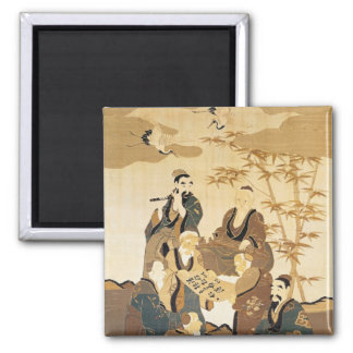 Seven wise men in the bamboo forest 2 inch square magnet