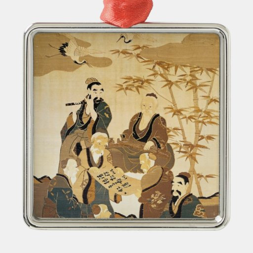 Seven wise men in the bamboo forest square metal christmas ornament
