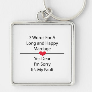 Seven Words For a Long and Happy Marriage Silver-Colored Square Keychain