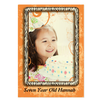 Seven Year Old Girls Zebra Birthday Photo Cards Business Card Template