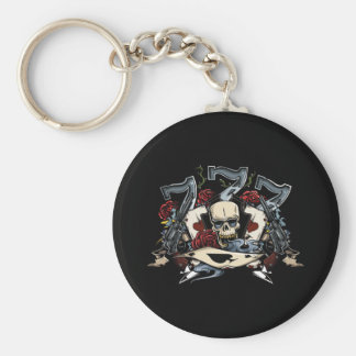 Sevens Skull Guns Roses Ace Of Spades Gambling Keychain