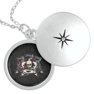Sevens Skull Guns Roses Ace Of Spades Gambling Round Locket Necklace