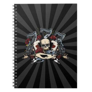 Sevens Skull Guns Roses Ace Of Spades Gambling Notebook