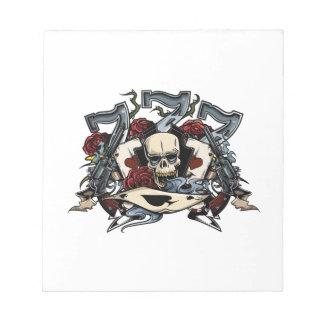 Sevens Skull Guns Roses Ace Of Spades Gambling Notepad