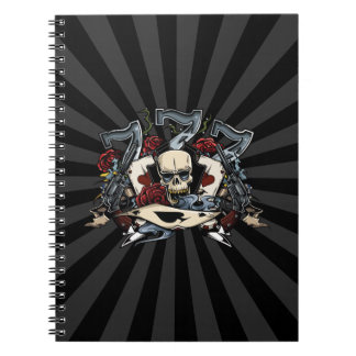 Sevens Skull Guns Roses Ace Of Spades Gambling Spiral Notebook