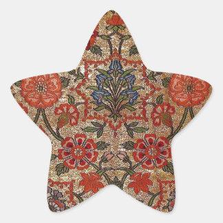 SEVENTEENTH CENTURY SILK BROCADE ARTWORK STAR STICKERS
