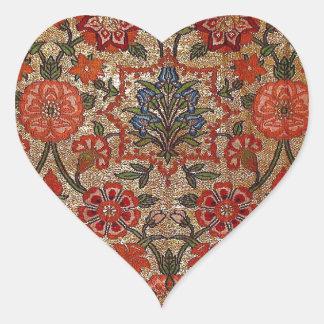 SEVENTEENTH CENTURY SILK BROCADE ARTWORK HEART STICKERS