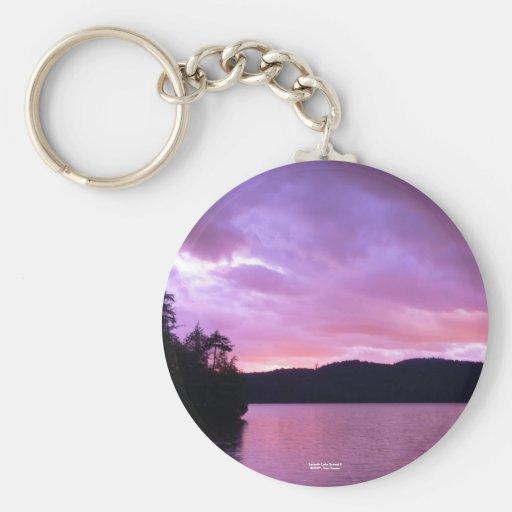 Seventh Lake Sunset II Basic Round Button Keychain