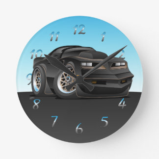 Seventies Classic Muscle Car Cartoon Round Clock