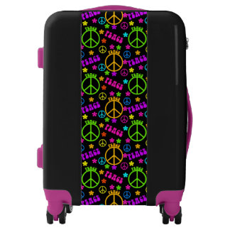 Seventies Peace sign carry on luggage