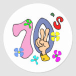 Seventies T-shirts and Gifts. Round Sticker