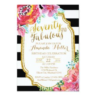 Seventy and Fabulous watercolor Invitation