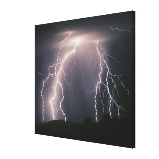 Several cloud to ground lightning flashes from a t gallery wrapped canvas