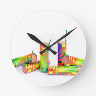 Several colorful fire work ground flowers round clock