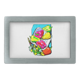 Several peppers and veggies graphic rectangular belt buckles